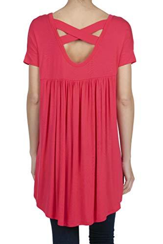 SHOP DORDOR 9045 Women's Short Sleeve V-Neck High Low Criss Cross Back Tunic Tops Coral L ()