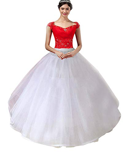 Women Girl's Layers Hoop Petticoat Crinoline Tulle Skirt A-line Puffy Unerskirts Slips Hoopless for Bridal Wedding Dress (8 ()