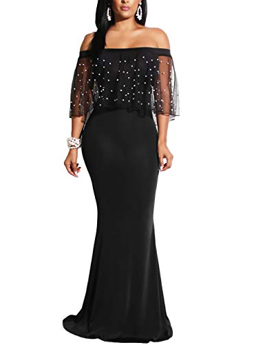 Studded Shoulder Dress - made2envy Pearl Studded Mesh Flounce Mermaid Gown (L, Black) LC610297BL
