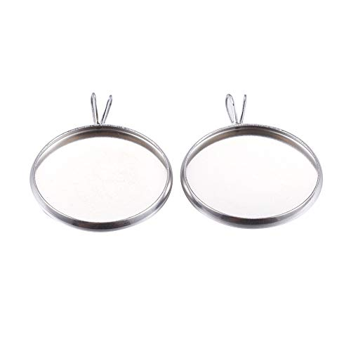 Flat Round Bezel Pendant - PH PandaHall 50pcs Stainless Steel Cabochon Settings Pendant Flat Round Bezel Pendant Trays Blanks for Necklace Crafts Jewelry Making (Tray: 20mm)