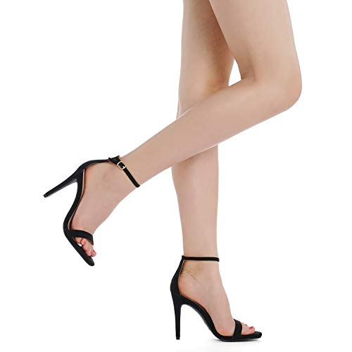 DREAM PAIRS Women's Karrie Black Nubuck High Stiletto Pump Heel Sandals Size 8.5 B(M) US