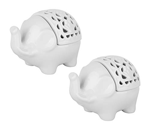 (Lewondr Ceramics Candlestick Holder, [2 Pack] Portable Decorative Elephant Openwork Glaze Ceramic Tea Light Candle Holder for Home Décor, Easy to Clean - White)