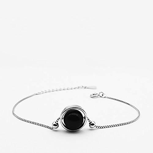 ACZDFAZ 925 Sterling Silver Bracelet Transfer Lucky Powder sieraden Moonstone Strawberry Crystal Obsidian Bracelet S925 Silver Jewelry