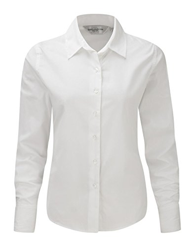 Russell Collection Ladies Long Sleeve Classic Twill Shirt XS/8 White