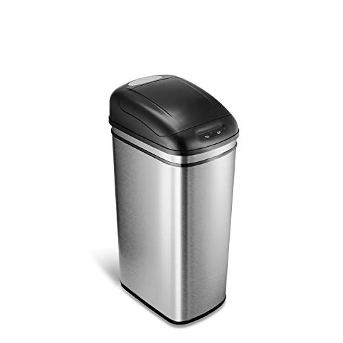 NINESTARS DZT-42-1 Automatic Touchless Infrared Motion Sensor Trash Can, 11 Gal 42L., Stainless Steel Base (Rectangular, Black Lid) (Battery Print Cart)