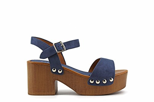 Modelisa - Sandalia Tacon Ancho Plataforma Mujer Azul