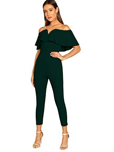Verdusa Women's Elegant Off Shoulder Ruffle High Waist Long Jumpsuit Green L