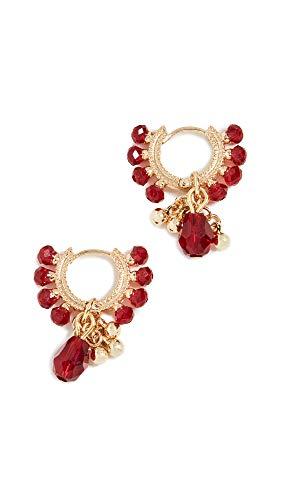 Shashi Women's Lolita Huggie Earrings, Ruby, Red, Gold, One Size