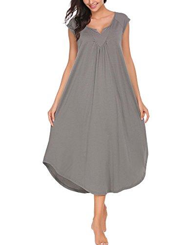 Imposes Women Cotton Nightgown V Neck Sleepwear Gown Maxi Long Dress Babydoll Medium Grey -