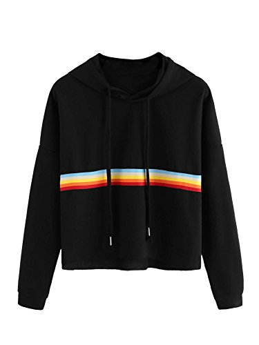 MAKEMECHIC Women's Striped Colorblock Rainbow Sweatshirt Crop Hoodie Top Black-Hooded XL