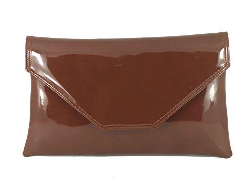 Large Prom Bag Bag Party Loni Cognac Wedding Clutch Bag Womens Patent Stylish Shoulder Brown Envelope fSTSPx