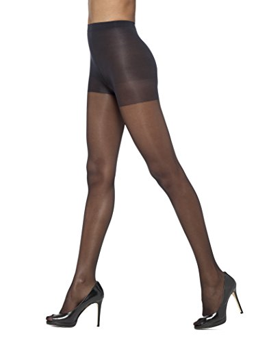 HUE So Silky Sheer Control Top Pantyhose with Invisible Reinforced Toe (Pack of 3) Black 4/Queen 1