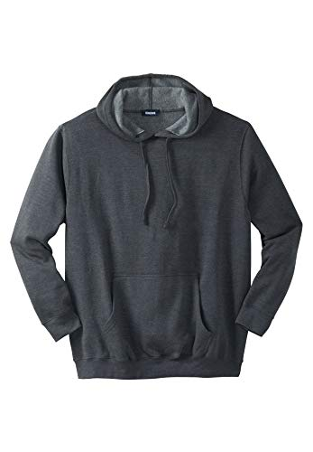 KingSize Men's Big & Tall Fleece Pullover Hoodie, Heather Charcoal Tall-4XL