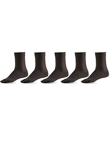 (Mat & Vic's Men's Dress Socks, European, Cotton, Classic Crew, also Women's Sizes, 5-pack Coffee Bean L)