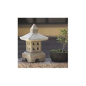 "18"" Stone Japanese Garden Lantern Ash Oki-gata"