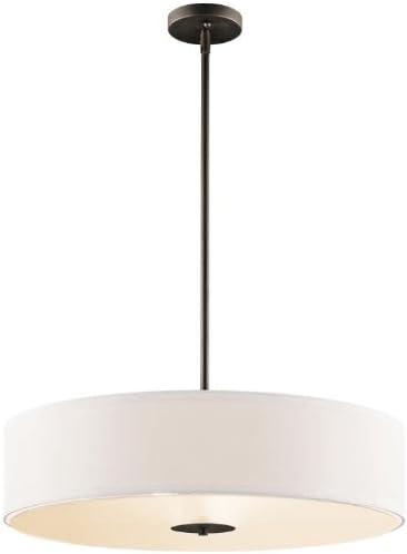 Kichler 42121NI Semi Flush Drum Pendant Lighting, Brushed Nickel 3-Light 20 W x 12 H 300 Watts