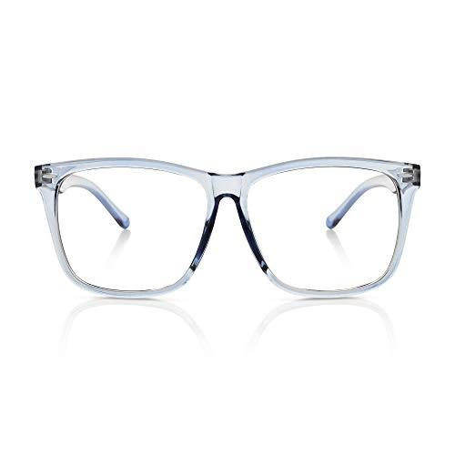 5zero1 Fake Glasses Big Frame Clear For Women Men Fashion Classic Retro Costumes Party Halloween, Light Ocean -