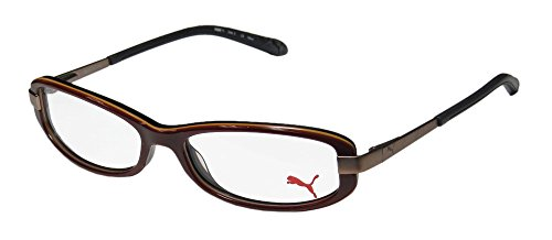 [Puma 15365 Zetta II Mens/Womens Cat Eye Full-rim Eyeglasses/Spectacles (52-15-135, Brown / Black)] (Vintage Halloween Costumes From The 80s)