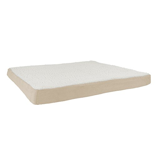 Orthopedic Sherpa Top Pet Bed with Memory Foam and Removable Cover 44x35x4.75 Tan by PETMAKER