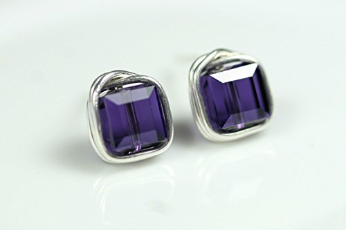 (Sterling Silver Dark Purple Stud Earrings with Purple Velvet Swarovski Crystals Wire Wrapped Sterling Silver or Gold Filled)