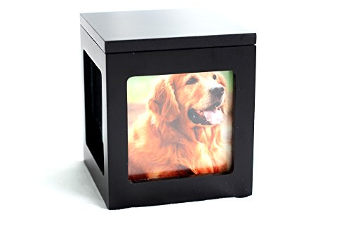 Black Dog Photo - Heavenly Home Pet Keepsake Multiple Photo Cube Pet Urn for 1 to 4 Pictures Cremation Memorial for Pet Lovers Acrylic Glass Photo Protector Resting Place for Cat or Dog (90 Cubic Inches)