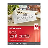 Office Depot(R) Brand Inkjet/Laser Tent Cards, Large, 3 1/2in. x 11in, Bright White, Pack Of 50