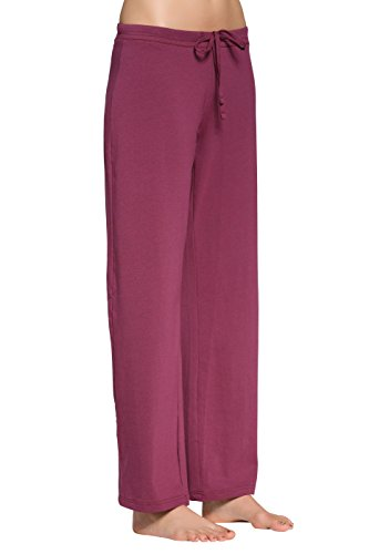 - CYZ Women's Basic Stretch Cotton Knit Pajama Sleep Lounge Pan-BordeauxMelange-M