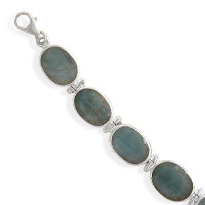 Genuine Emerald Bracelet Rough-cut Stones Adjustable Length Sterling Silver