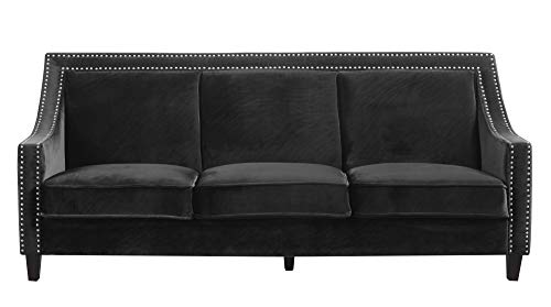 (Iconic Home FSA9002-AN Camren Sofa Velvet Upholstered Swoop Arm Silver Nailhead Trim Espresso Finished Wood Legs Couch Modern Contemporary, Black)