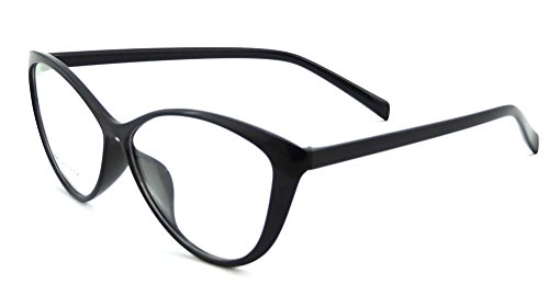 Ladies Cateye Glasses Frames Blue Blocking Clear Lens Computer Reading Glasses-5865(black, anti blue light up 0 down 2.00)