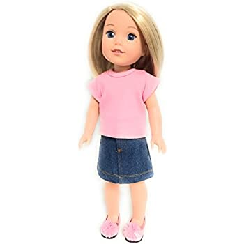 "Denim Jean Skirt fits 14/"" American Girl Wellie Wishers Wisher Doll Clothes"