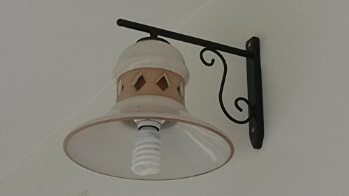 Applique da muro in ferro battuto con lampara in ceramica bianca