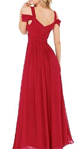 Women's Red Shoulder V Domple Dress Cocktail Deep Sexy Long Cold Split Neck Wine qdH7dw