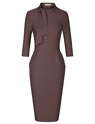 MUXXN Lady Coffee Elegant Mock Collar Empire Waist Celebrity Wedding Sheath Dress (Brown XXL)