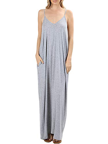 MixMatchy Women's Summer Casual Plain Flowy Pockets Loose Beach Cami Maxi Dress Heather Grey XL (Jumper Dresses Women)
