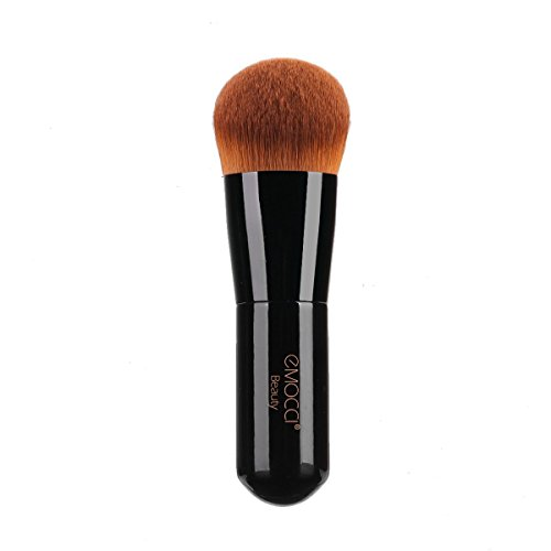Foundation Kabuki Brush, EMOCCI Flat Face Makeup Brush for Blending Liquid Powder BB Cream Buffing Bronzer Make Up Portable Brush Cosmetic Beauty Tool (Black)