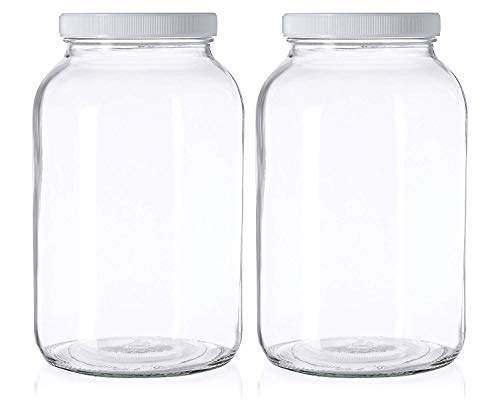 2 Pack - 1 Gallon Mason Jar - Glass Jar Wide Mouth with Airtight Foam Lined Plastic Lid - Safe Mason Jar for Fermenting Kombucha Kefir - Pickling, Storing and Canning - By Kitchentoolz (Glass Pickle Jars Large)