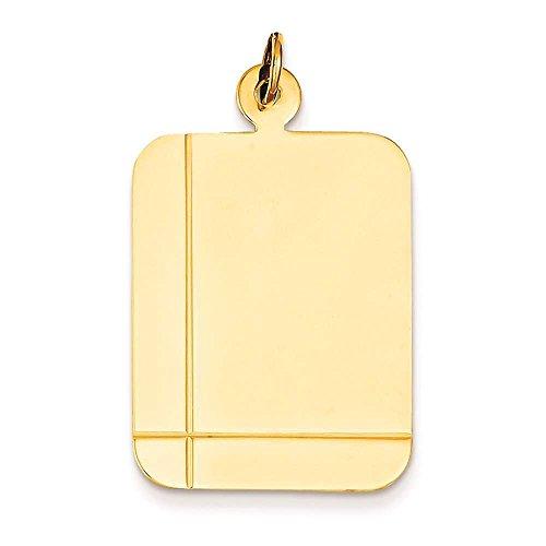 14k Yellow Gold Rectangular .035 Gauge Engravable Disc Charm Pendant 33mmx20mm