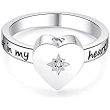 925 Sterling Silver Heart Angel Wings No Longer by Side but Forever in My Heart Cremation Urn Ring Hold Loved Ones Ashes Finger Rings Memorial #7#8#9#10
