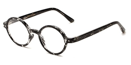 Readers.com The Bookworm +1.75 Marbled Black Affordable Round Frame Best Sellers Reading - Affordable Sunglasses