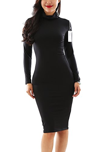 [YMING Womens Stretch Party High Necked Bodycon Long Sleeve Dress,Black,XL] (Black Goth Dress)