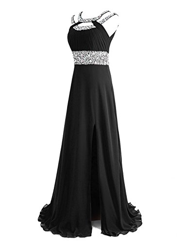 SeasonMall Women's Prom Dress A Line Scoop Chiffon Long Slit Evening Dress Size 6 US Black by SeasonMall (Image #2)