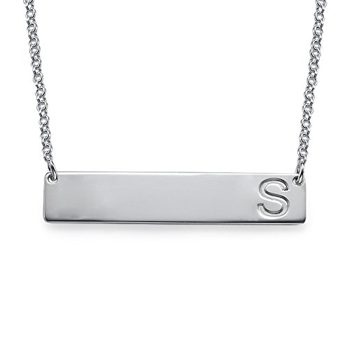 (Bar Necklace Personalized Name Necklace in Sterling Silver - Custom Made with any Initial)