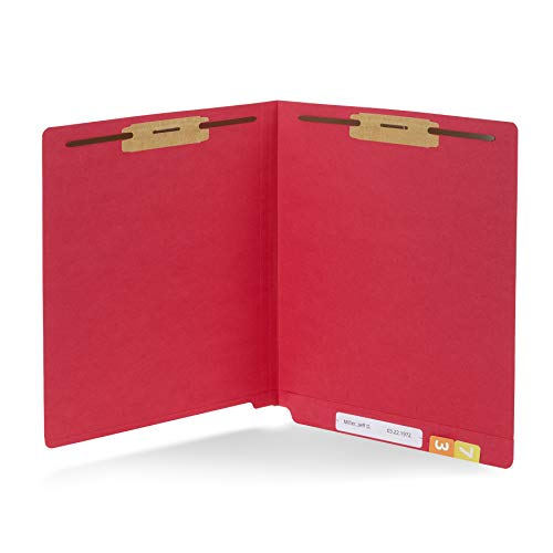 50 Red End Tab Fastener File Folders - Reinforced Straight Cut Tab - Durable 2 Prongs Designed to Organize Standard Medical Files, Receipts, Office Reports, and More - Letter Size, Red, 50 Pack