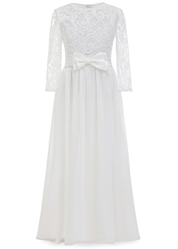 AbaoSisters Lovely Flower Girl Wedding Long Sleeves Kids Lace Pageant First Communion Dress(Size 12) ()