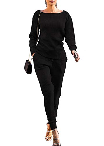 Womens Fall Rib-Knit Pullover Sweater Top & Long Pants Set 2 Piece Outfits Tracksuit (Black, XL) (Knit Pullover Rib)