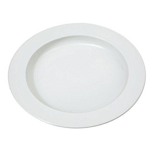 NRS N28783 White Manoy Sloped and Curved Round Plate for one handed eating (Eligible for VAT relief in the UK) by NRS Healthcare