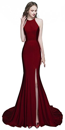 ROSAFASHION Womens Mermaid Prom Evening Dress Long Burgundy 10