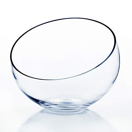 - WGV Clear Slant Cut Bowl Glass Vase/Glass Terrarium, 8-Inch x 2.7-Inch