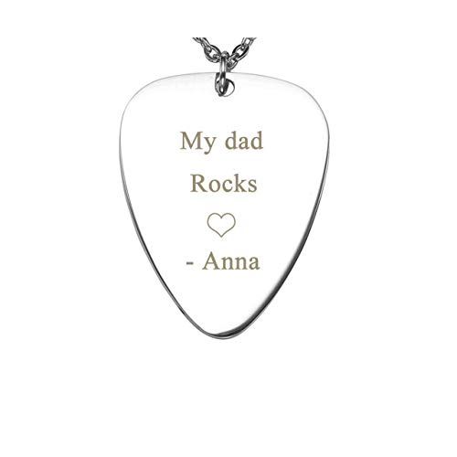 Jovivi Personalized Message Stainless Steel Guitar Pick Pendant Necklace - Customized Engraving